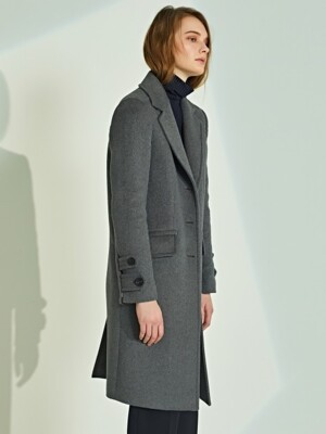 DOUBLE BUTTON SLEEVE WOOL COAT_GR