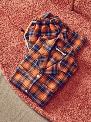 (W) Abbie PJ Set Flannel Pumpkin Plaid