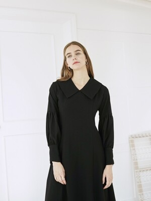 BIG COLLAR PUFF DRESS BLACK