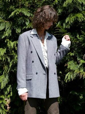 DOUBE BREASTED BLAZER _ GREY