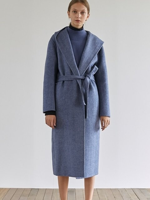 HANDMADE WRAP COAT_BLUE