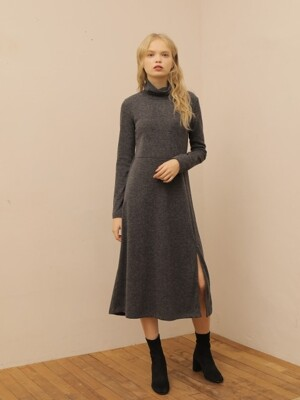 SLIT LONG TURTLENECK ONE PIECE_GRAY