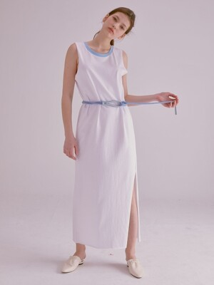 COLOR NECK RAW EDGE MAXI DRESS_WHITE