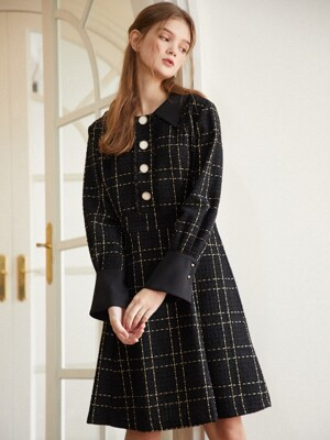 Tweed Button Dress_Black