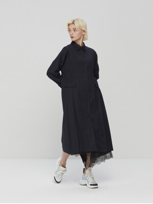 Wool Blend Pleated Shirts Dress Navy