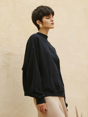 V high neck sweatshirt_Navy