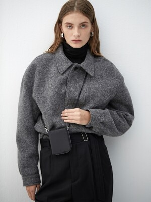 CHARCOAL wool short blouson(KJ008)
