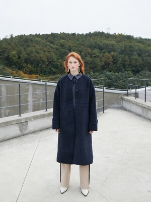 19FW 2ND REVERSIBLE ECO FUR LEATHER COAT NAVY