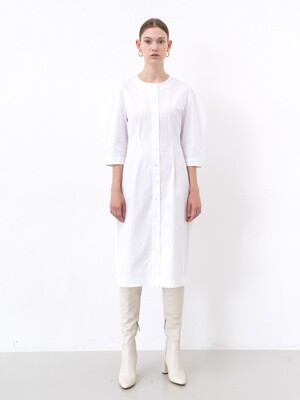 COTTON SHIRT DRESS (WHITE)
