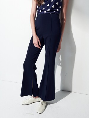 HIGHWAIST SLIT PANTS . NAVY