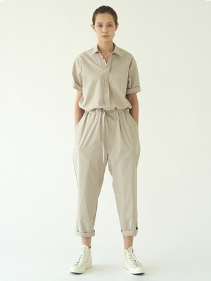 collar cotton jumpsuit (light grey)