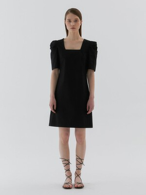 ?Puff Mini Dress_Black