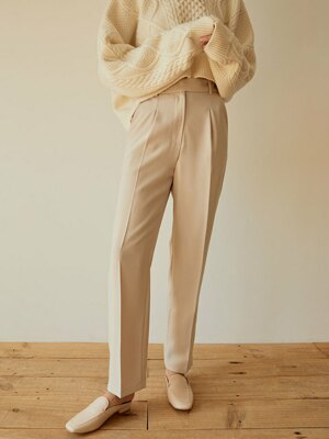 Button Point Wide Slacks(Beige)