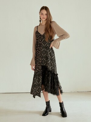 Slip Half Layer Lace Dress, Black