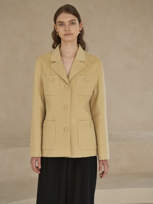 Premium handmade wool stitched collar short coat in ye. Be