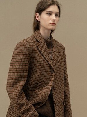 TWEED THREE BUTTON COKET (BROWN)