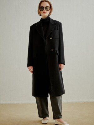 WOOL CASHMERE TAILORED COAT BLACK (AECO0F002BK)
