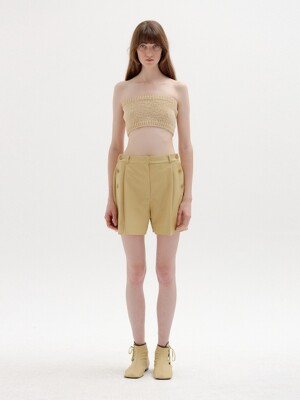 STAR Leather Shorts - Beige