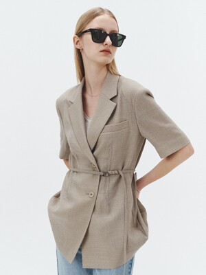 HALF-SLEEVES BELTED SUMMER-WOOL JACKET SOFT GREIGE_UDJA1E211G1