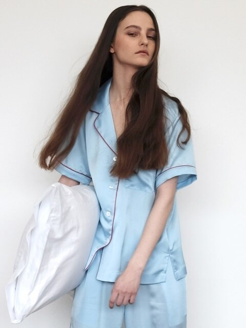 Pastel Short Sleeve PJ Shirt - Misty Sky