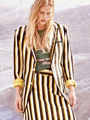 tailored stripe blazer[yellow(UNISEX)]