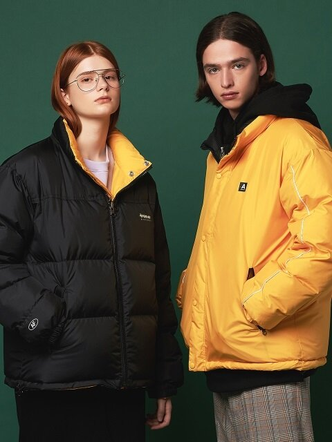 PUFFY REVERSIBLE DOWN JACKET (BLACK/YELLOW)