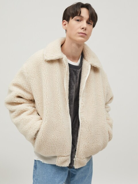 Boa Fleece Harrington Jacket (Ivory)