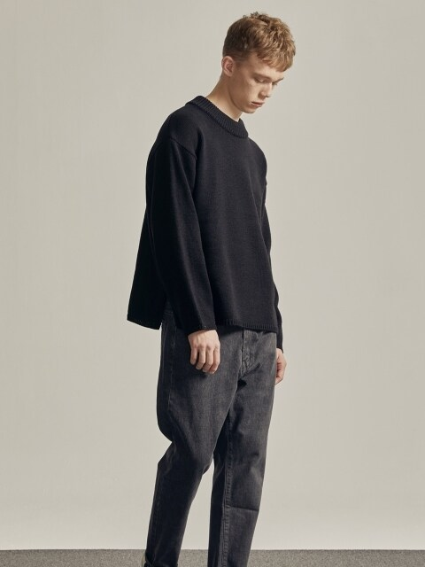 FISHERMAN CREWNECK KNIT (BLACK)