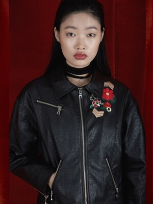 FLOWER LEATHER JACKET_BLACK