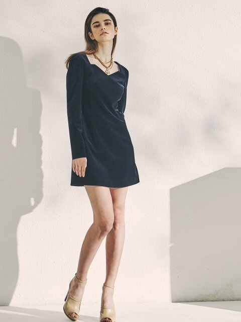GOLGI VELVET MINI DRESS NAVY