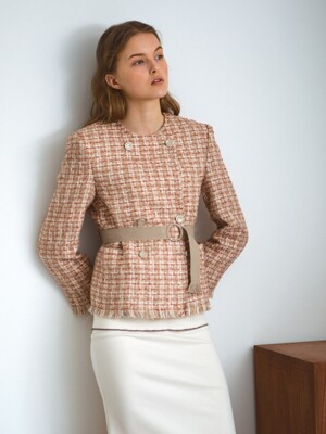 Belted wool tweed jacket, beige
