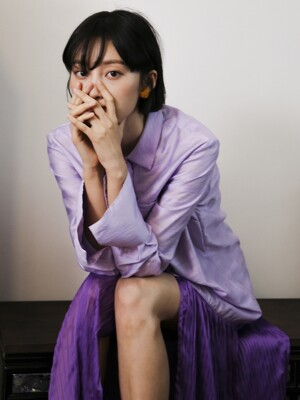 Pleats Shirts Dress _ Purple