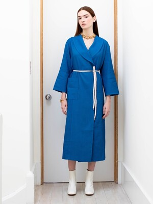 CHELSEA shawl collar shirt dress (Cobalt blue)
