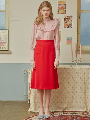 RED A POCKET SKIRT