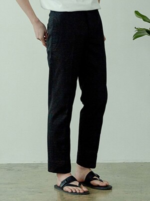 Straight cotton pants(BLACK)