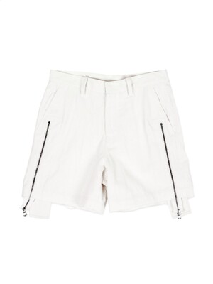 Genderless Micro Denim Zipper Shorts White (Genderless)