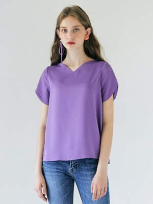 Heart Neckline Top _ Purple