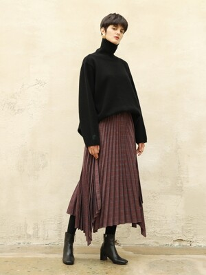 Hemline pleats skirt_Wine