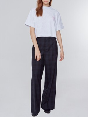 Wide Fit Wool Check Pants