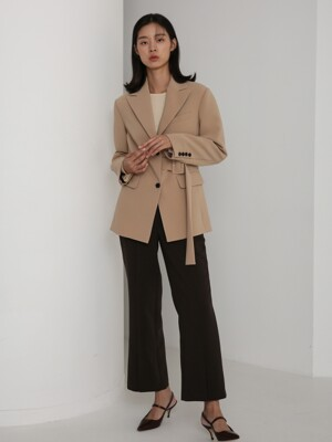 19AU BELTED SINGLE JACKET (BEIGE)