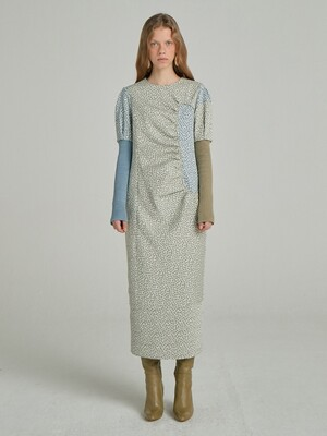 Petite Floral Jacquard Dress_Light Khaki