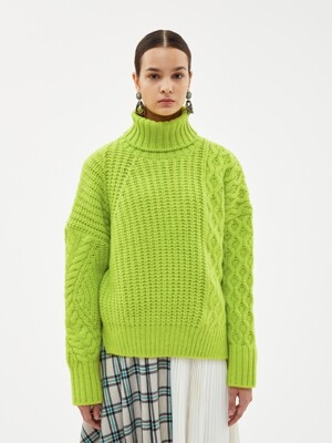 ALTO FISHERMAN CONTRAST TURTLE NECK atb256w(LIME)