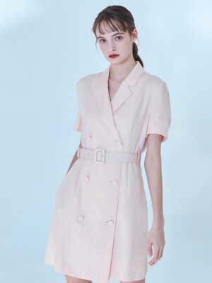 Claire Linen Jacket Dress [Peach Pink]