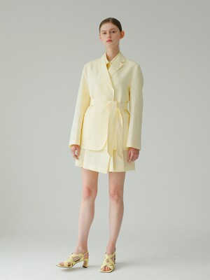 Linen Belt jacket_Yellow