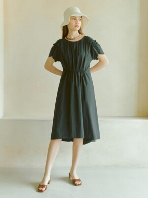 Shirring One-piece in Black (WS0571MG15)