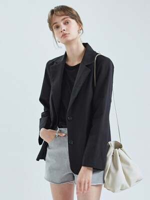 LINA SINGLE LINEN JACKET_BLACK