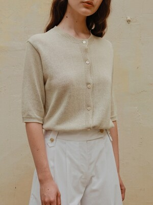 Paper Half Cardigan in Gold