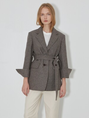 Button Detailed Herringbone Wool Jacket