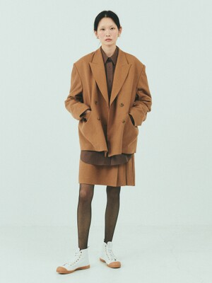 BENSIMON SET UP WOOL DOUBLE JACKET - CARAMEL