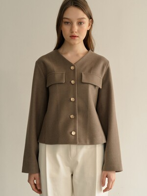 monts 1235 button wool blouse (cocoa)